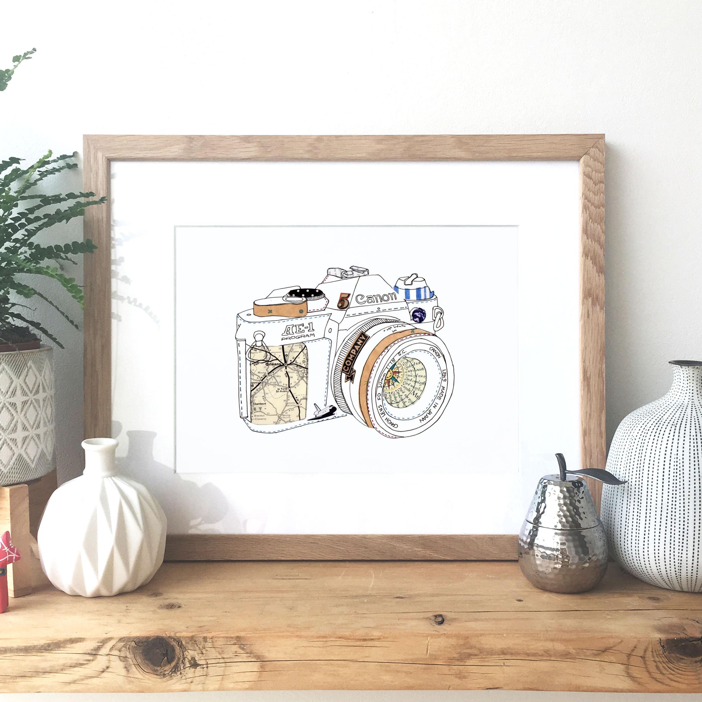 Canon AE-1 SLR-Kamera Tinte und Collage Illustration | Etsy