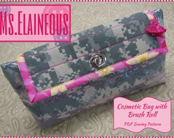 Cosmetic Bag with Brush Roll PDF Pattern