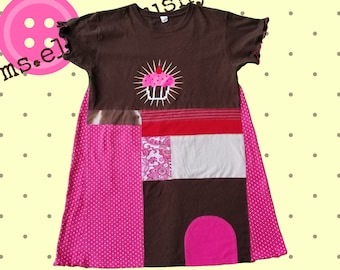 Womens Clothing, Tunic, Womens Graphic Tee, Upcycled Tunic, Upcycled Shirt, Pink and Brown, Funky, Lagenlook, Artsy Dress, Eco Friendly