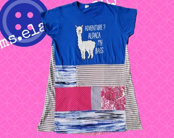 Alpaca Shirt, Womens Graphic Tee, Upcycled Tunic, Upcycled Shirt, Pink and Blue, Funky, Lagenlook, Artsy Dress, Eco Friendly, Alpaca, Travel