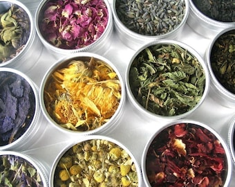 Green herbal tea kit in a brushed aluminum box - set of 15 - a beautiful gift for Mom.