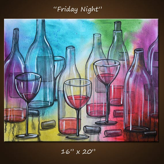 Art Painting Abstract Modern Dining Room Bar Decor Wine
