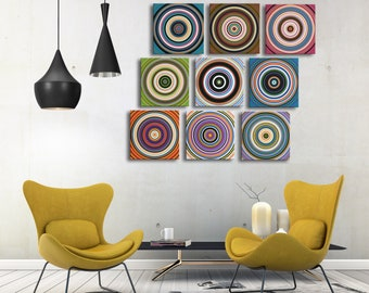 Extra Large canvas wall art / Original Circles Abstract Paintings Modern Contemporary Colorful Decor / 9 pc. endless display possibilities