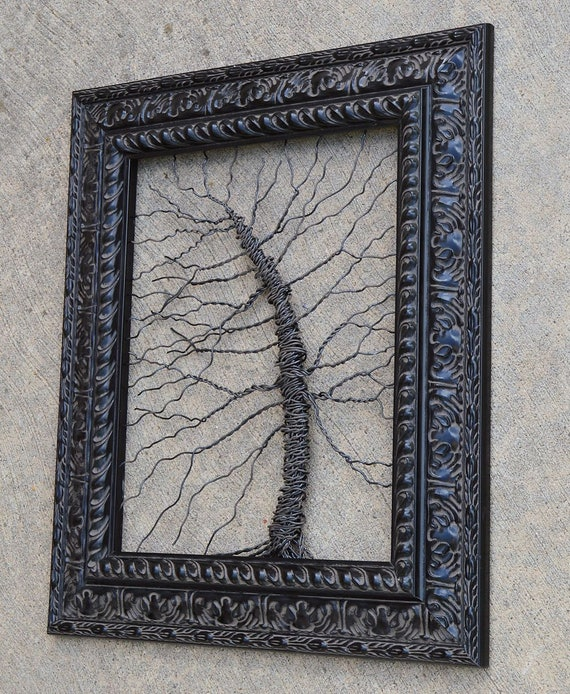 Framed tree wall art / wire tree sculpture Unique Art Object Large Tree  Abstract    Wire tree in ornate black frame // READY TO SHIP