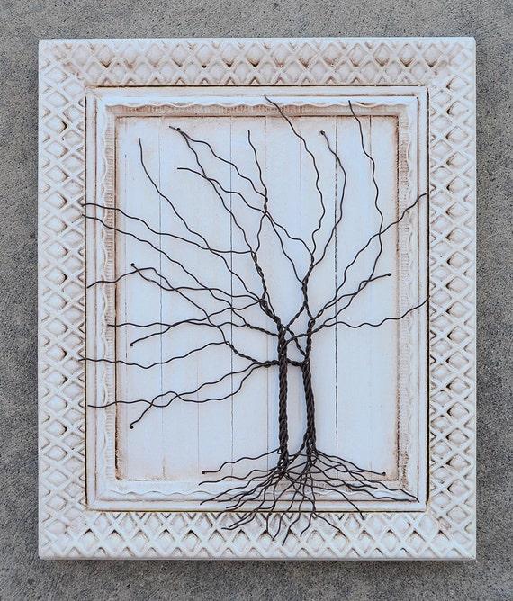 Enmarcado arte de pared de árbol / escultura de alambre único