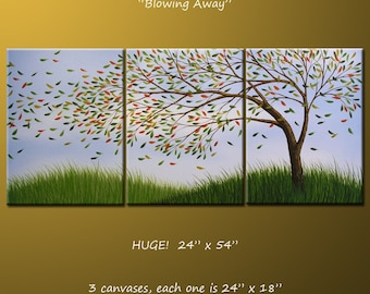 Huge Art Landscape Original Painting Large Triptych Modern Contemporary Trees ... 24 x 54 .. Blowing Away, arrives ready to hang