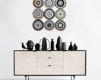 Large wood monochrome wall art / Original Artwork Abstract Paintings Sculpture Modern black white grey Decor / 9 piece Contemporary display