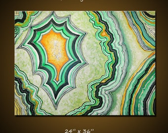 """Agate Slice Art // Abstract Art Painting Original Large Modern Art Wall Decor Green Agate Slice art // 18"""" x 24""""  // by Amy Giacomelli"""