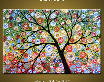 """Large wall art / original tree painting / modern wall decor, Amy Giacomelli 24"""" x 36"""" tree and circles landscape paintings"""