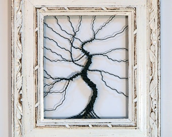 Framed tree wall art / wire tree sculpture  Unique Art Object Large Tree Abstract .. Wire tree in ornate shabby chic frame // READY TO SHIP