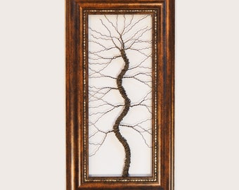 Framed tree wall art / wire tree sculpture  Unique Art Object Large Tree Abstract .. Wire tree in ornate brown frame // READY TO SHIP