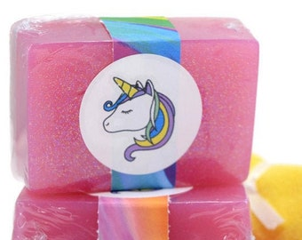 Unicorn Sparkle Soap, Scented Glitter Soap, Handmade Bar Soap