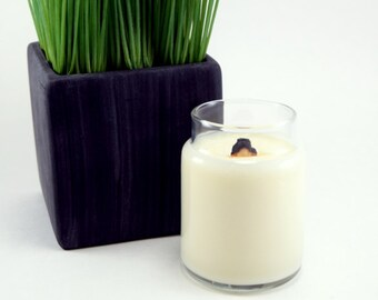 Wood Wick Soy Candle, Handpoured Tuscan Herb Scented Container Candle, Free Shipping, 4oz