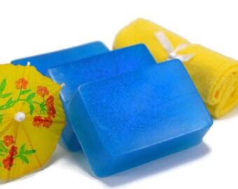 Electric Lemonade Soap, Scented Glitter Soap Bar, Handmade Glycerin Bar Soap
