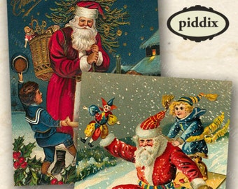 Vintage Victorian Christmas Santa Digital Collage Sheet 1.9x2.5 Inches ACEO Printable Gift Tag Holiday Snow Kris Kringle Postcard piddix 423