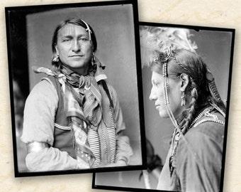 Native Americans Photos, Black and White Photo Printables, ATC printables, Vintage Photo Instant Download, Portrait Photographs - piddix 67