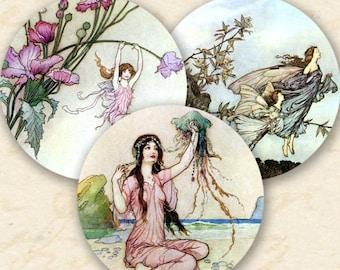 Fairy Tale Clip Art, 1.5-inch Circles, Fairy Tale Instant Download, Digital Vintage Circles, Printable Fairies Collage Sheet - piddix 163