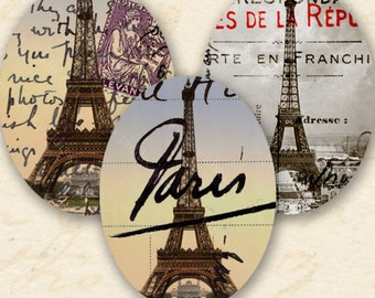 Paris France Eiffel Tower Digital Collage Sheet Printable 30x40 mm Oval Instant Download Vintage French for Jewelry & Crafts piddix 657