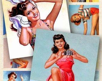 Vintage Pin Ups Digital Collage Sheet in 1.5 inch squares Beach Pinups Retro Pin Up Girls piddix 335