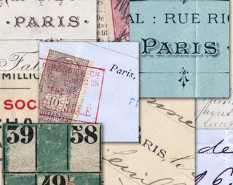 Vintage French Background Ephemera Digital Collage Sheet 1-inch Squares Shabby Chic Paris French Hand Writing Postcards piddix 921