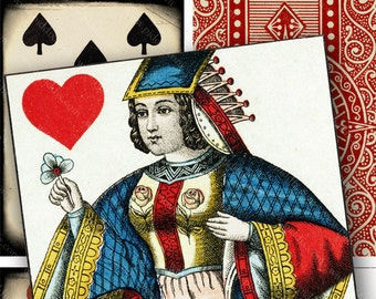 Vintage Playing Card Digital Collage Sheet 2.5 x 3.5 inch Rectangles Queen Jack Face Cards Diamond Heart Spade Club piddix  1138