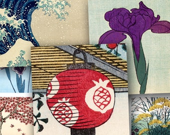 Vintage Japanese Woodblocks Digital Collage Sheet 1 inch Square Japan Cherry Blossoms for Pendants Bezels Settings Glass Tiles piddix 1132
