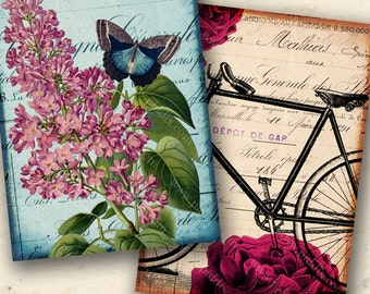 Vintage Tags Butterfly Flower Bicycle Digital Collage Sheet 2.5x3.5 inches ACT Instant Download French Balloons for Tags & Crafts piddix 957