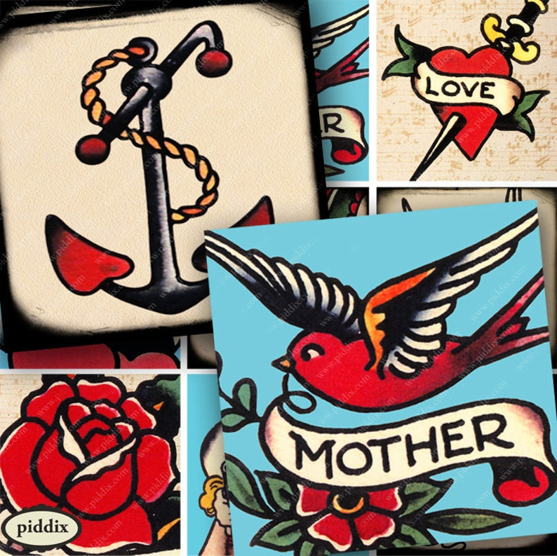 Vintage Tattoo Designs Sailor Jerry Tattoo Flash Digital | Etsy