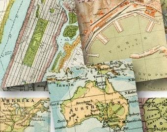World Maps 1.5-inch squares -- piddix digital collage sheet 671