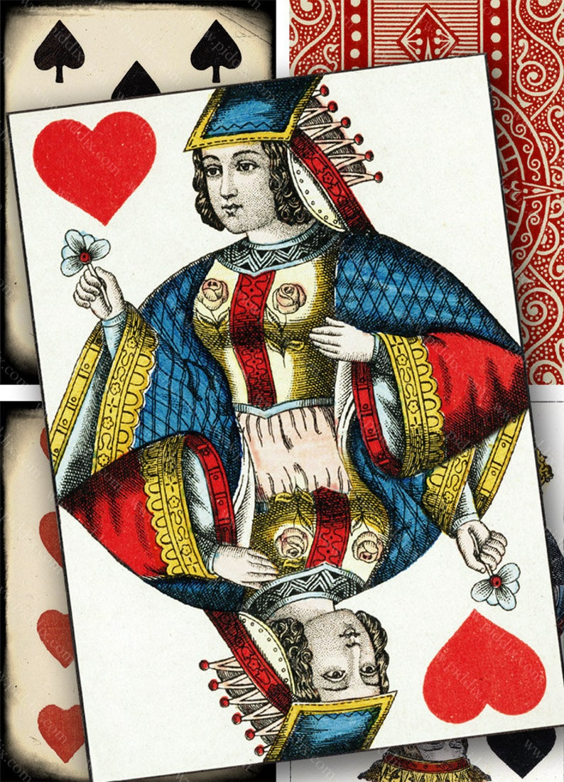 Vintage Playing Card Digital Collage Sheet 2 5 x 3 5 inch Rectangles Queen  Jack Face Cards Diamond Heart Spade Club piddix 1138
