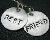 Hand Stamped Best Friend Sterling Silver Earrings