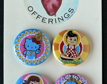 Set of Four Pop Art Badges