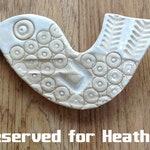Handmade Ceramic Bird. Pottery Animal. Earthenware sculpture. Wall plaque, Wall hanging