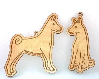 Basenji Wooden Ornament Set