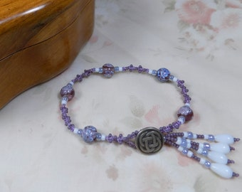 Micro Macrame BRACELET Spirals Lavender White Millifiori Button Closure Tassel Medium
