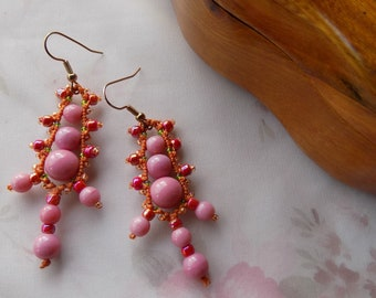 Beaded Micro Macrame EARRINGS Victorian Lace Pink Gold