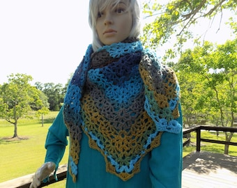 Hand Crocheted Lacy Pineapples SCARF or SMALL SHAWL Blue Brown Tan Green Aqua