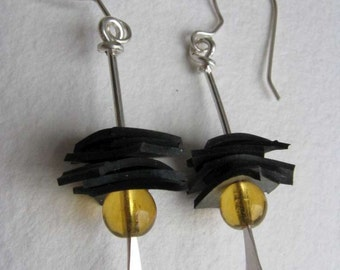 Bike Tire Stacked Earring -yellow long