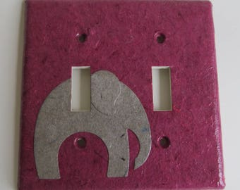 Elephant on Dark Pink- Light switch Plate- double- Recycled Materials