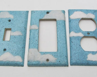 Decorative Cloud Light Switch Plates, handmade paper from recycled materials, eco friendly wall art-Recycled Handmade Paper