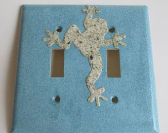 Frog on Double Light switch Plate- Hand made paper from Recycled Materials