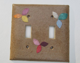 Decorative Tan with flowers Light Switch Plates-Recycled Handmade Paper