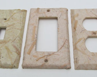Cornhusk paper -Recycled decorative single Switch Plate Covers-Recycled Handmade Paper