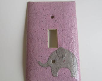 Elephant on Pink Light switch Plate - single- Recycled Materials