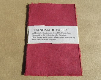 Handmade Paper from upcycled Red cotton T-shirts, no dyes or additives. Eco- Friendly, 8 1/2 x 5.5 inches-Recycled Handmade Paper