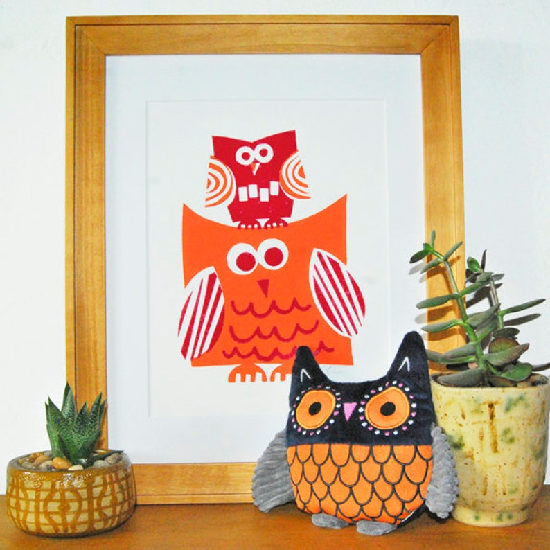 Big & Little Owl Print image 0