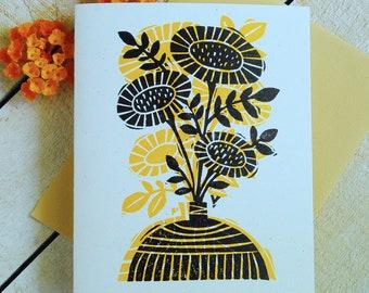 Sunflower Vase Letterpress Single CArd