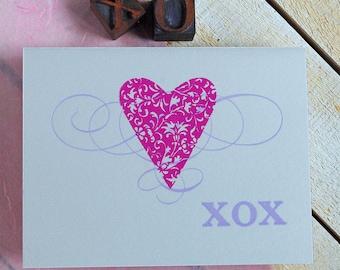 Heart XOX Letterpress Card