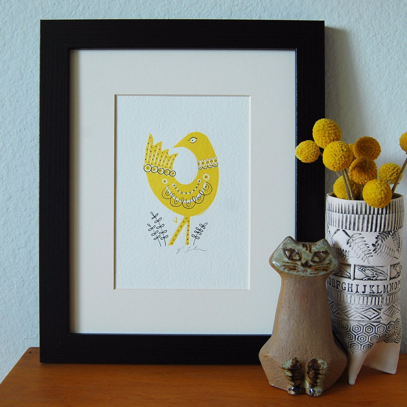 Yellow Bird Letterpress Print image 0