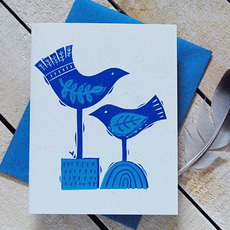 Bird Duo Letterpress Note Cards image 0